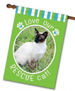 "Rescue Cat Green  - Photo House Flag 28""x40"""