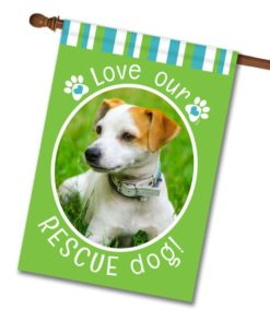 "Rescue Dog Green  - Photo House Flag 28""x40"""