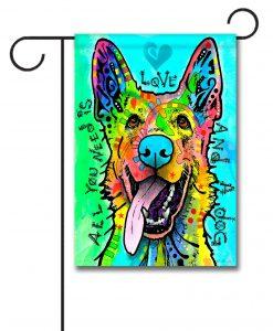 Love and a Dog - Garden Flag - 12.5'' x 18''