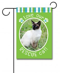 Rescue Cat Green - Photo Garden Flag - 12.5'' x 18''