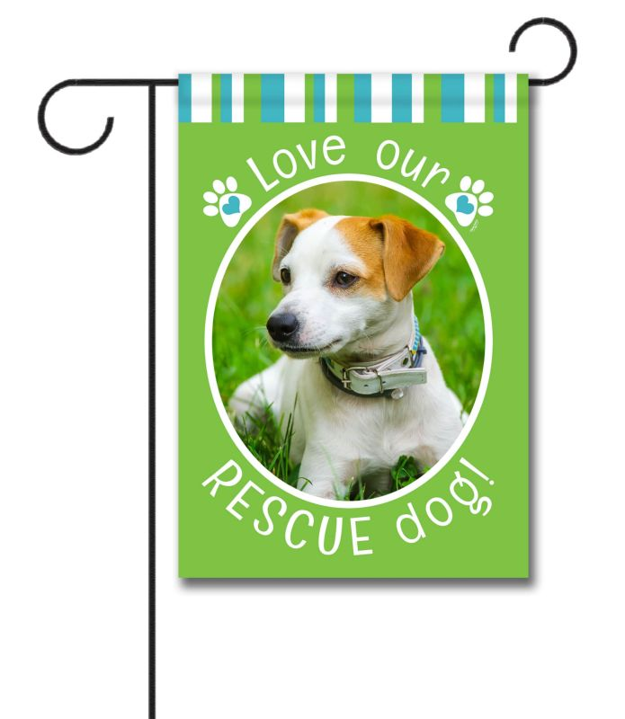 rescue dog green - photo garden flag - 12 5 u0026 39  u0026 39  x 18 u0026 39  u0026 39