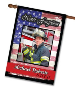 Never Forgotten - Firefighter - Photo House Flag - 28'' x 40''