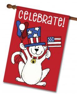 Patriotic Cat - House Flag - 28'' x 40''