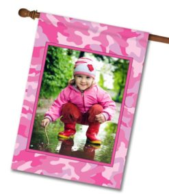 "Pink Camo  - Photo House Flag 28""x40"""