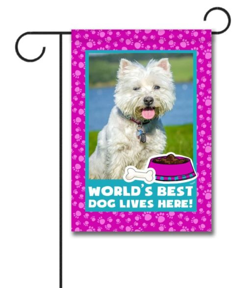 World's Best Dog - Pink - Photo Garden Flag - 12.5'' x 18''