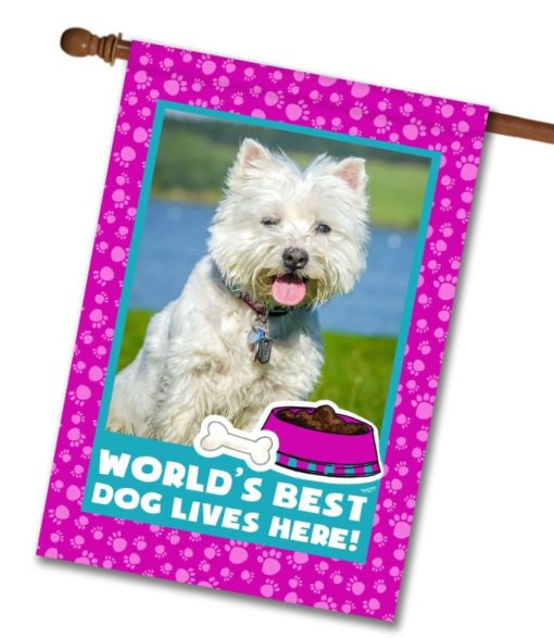 "World's Best Dog - Pink - Photo House Flag 28""x40"""