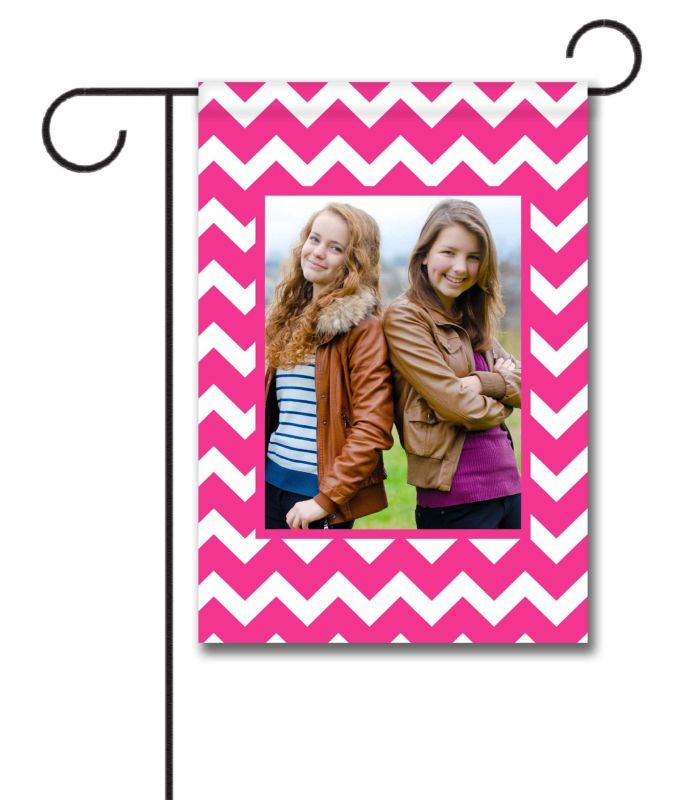 Chevron - Pink & White - Photo Garden Flag - 12.5'' x 18''