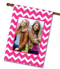 "Chevron - Pink & White  - Photo House Flag 28""x40"""