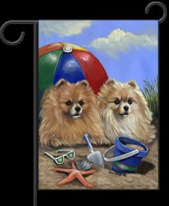 Pomeranian Beach Garden Flag