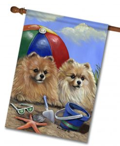 Pomeranian Beach - House Flag - 28'' x 40''