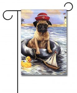 Pug Sailor - Garden Flag - 12.5'' x 18''