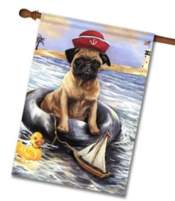 Pug Sailor- House Flag - 28'' x 40''