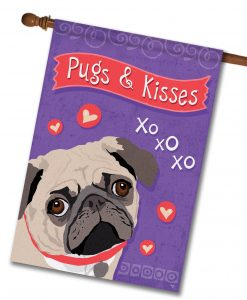 Pugs & Kisses- House Flag - 28'' x 40''