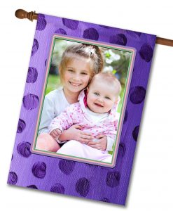 "Purple Polka Dots  - Photo House Flag 28""x40"""