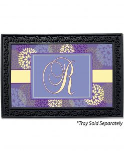 Purple & Yellow Flowers Monogram Doormat