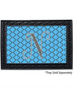 Quatrefoil Solid Background Monogram Doormat