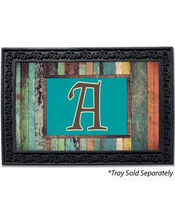 Colorful Distressed Wood Monogram Doormat