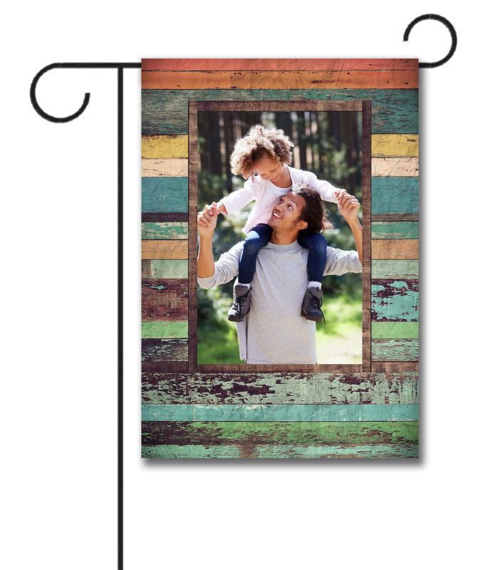 Colorful Distressed Wood  - Photo Garden Flag - 12.5'' x 18''