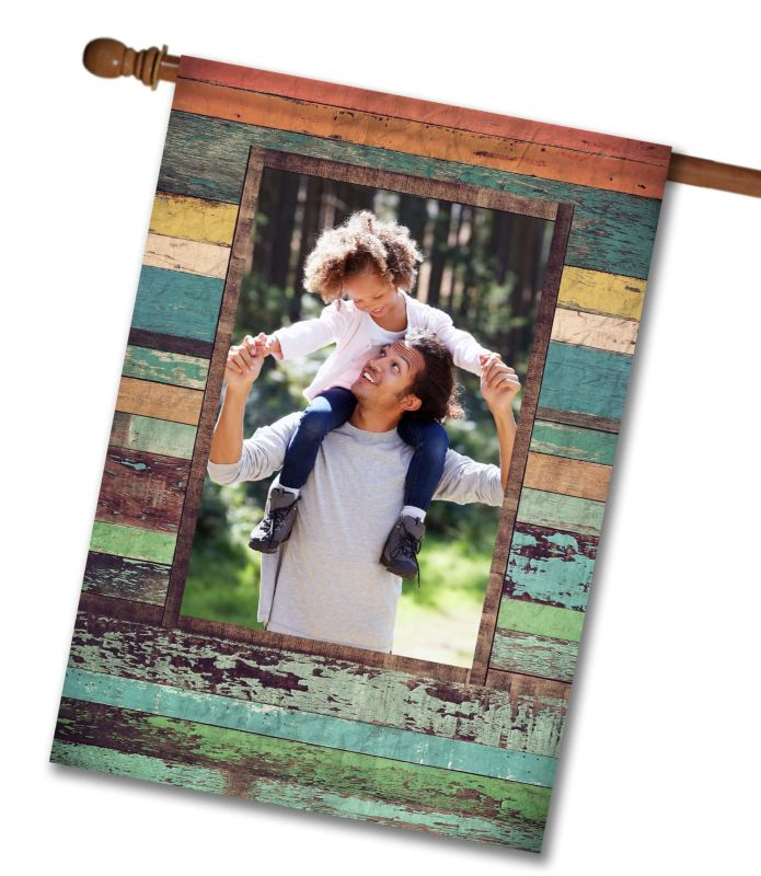 "Colorful Distressed Wood  - Photo House Flag 28"" x 40"""