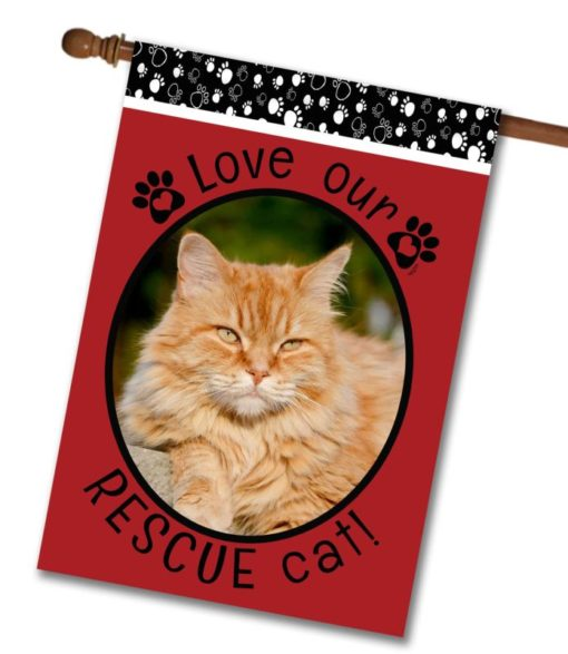 """Rescue Cat Red  - Photo House Flag 28""""x40"""""""
