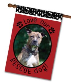"Rescue Dog Red  - Photo House Flag 28""x40"""