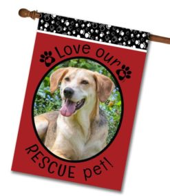 "Rescue Pet Red  - Photo House Flag 28""x40"""
