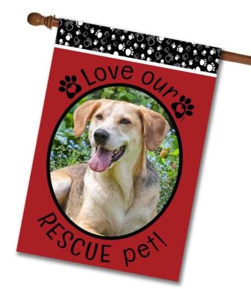 """Rescue Pet Red  - Photo House Flag 28""""x40"""""""