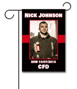 Red Stripe 1 - Firefighter - Photo Garden Flag - 12.5'' x 18''