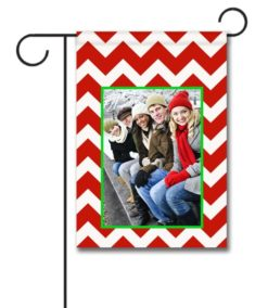 Red & White Chevron - Photo Garden Flag - 12.5'' x 18''