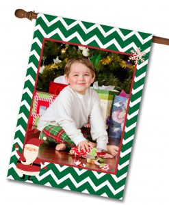 "Santa Green Chevron - Photo House Flag 28""x40"""