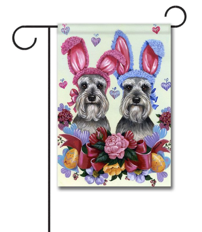 Schnauzer Easter Bunnies Garden Flag 125 x 18 Custom