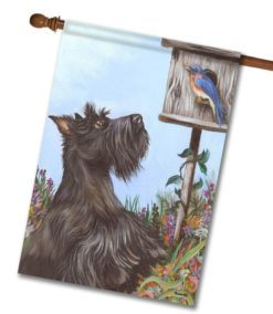 Scottish Terrier Bluebird - House Flag - 28'' x 40''