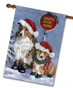 Shetland Sheepdog House Flag Christmas Precious Pets Paintings