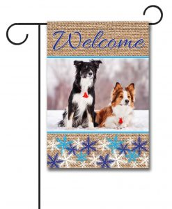 Snowflakes & Burlap - Photo Garden Flag - 12.5'' x 18''