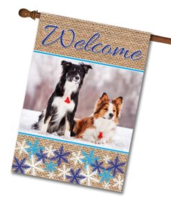 Snowflakes & Burlap - Photo House Flag - 28'' x 40''