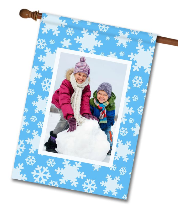 Snowflakes Photo House Flag 28 X 40 Custom
