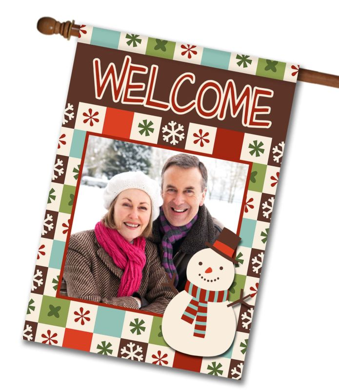 "Snowy Welcome  - Photo House Flag 28""x40"""