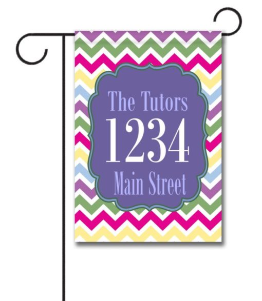 Spring Chevron  - Address Garden Flag - 12.5'' x 18''