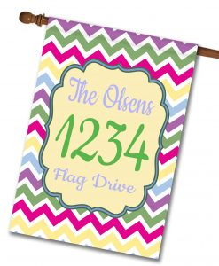 "Spring Chevron  - Address House Flag 28""x40"""