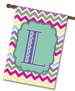 Spring Chevron Personalized Monogram House Flag2