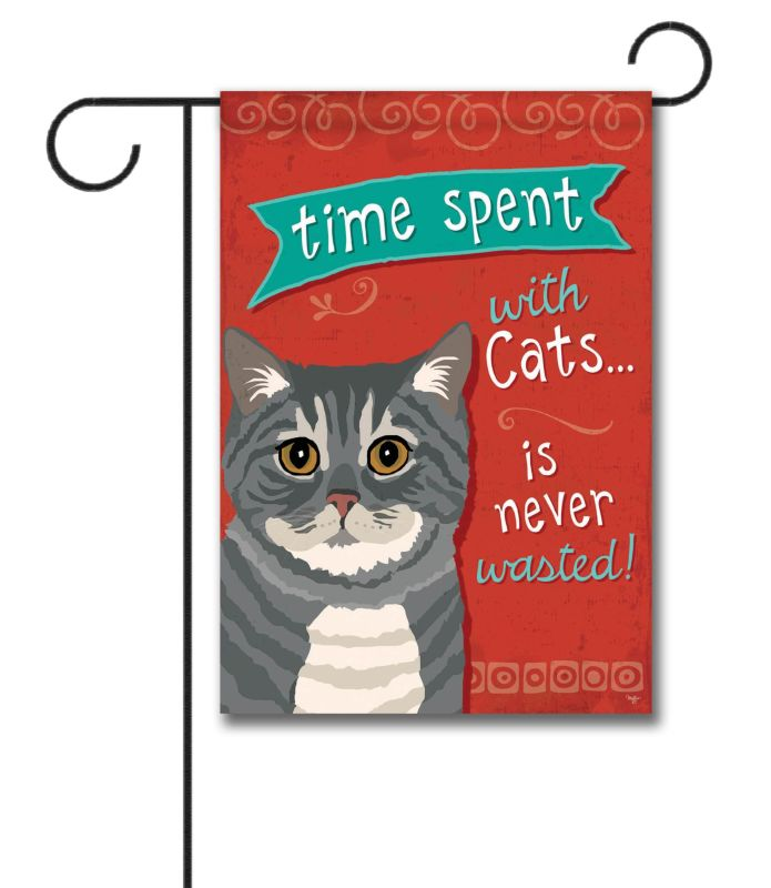 Time Spent With Cats Gray Tabby Cat Garden Flag 12 5