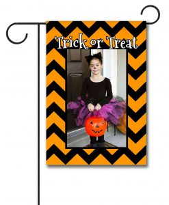 Trick or Treat Chevron- Photo Garden Flag - 12.5'' x 18''