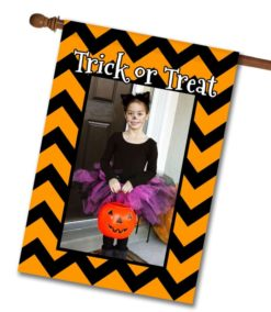 "Trick or Treat Chevron  - Photo House Flag 28""x40"""