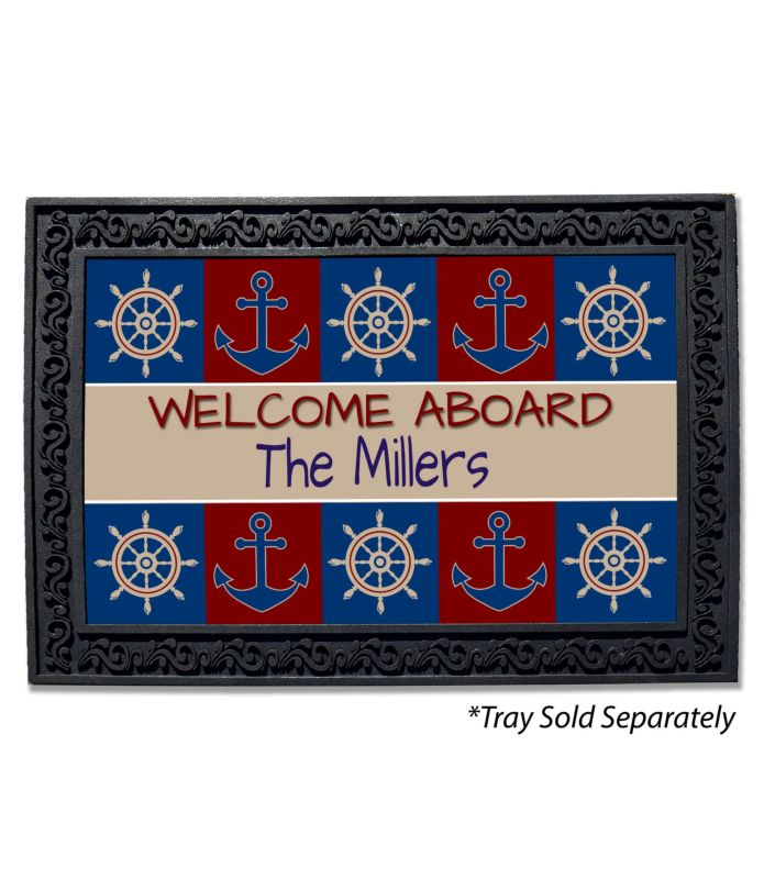 Welcome Aboard Monogram Doormat