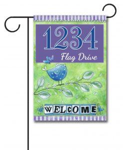Welcome Bird  - Address Garden Flag - 12.5'' x 18''