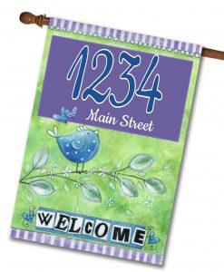 "Welcome Birds- Address House Flag 28""x40"""