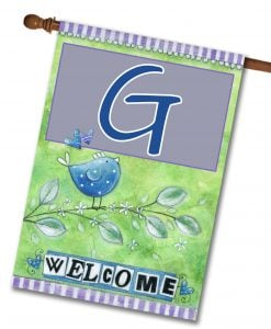 "Welcome Birds- Monogram House Flag 28""x40"""
