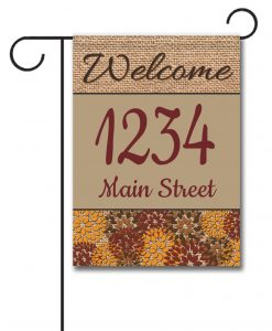 Flowers & Burlap  - Address Garden Flag - 12.5'' x 18''