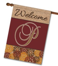 "Flowers & Burlap  - Monogram House Flag 28""x40"""