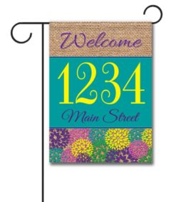 Spring Flowers & Burlap  - Address Garden Flag - 12.5'' x 18''
